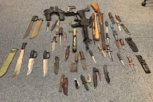 Weapons found at a Chichester property. Picture courtesy of Chichester Police