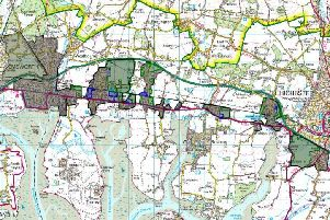 Schematic showing existing and potential development next to Chichester Harbour, based on the Housing and Economic Land Availability Assessment