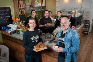 Manuka Wholefoods shop in East Street, Chichester, West Sussex has just extended its offering by opening a Wholefoods Cafe within the store. In Pic: (Front) Trea and Grant Langford, owners of Manuka Wholefoods shop and cafe, and their staff in the new cafe. Photo by Scott Ramsey