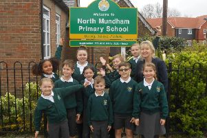 Headteacher Julia Carey and the school council at North Mundham Primary School. Photo contributed