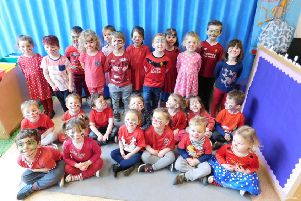 Cranwell's Kidzone children dressed in red for Comic Relief. EMN-190318-181219001