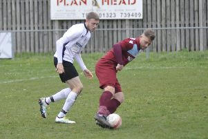 Jamie Crone on the ball during Little Common's 3-1 defeat at home to Lancing yesterday. Picture by Simon Newstead