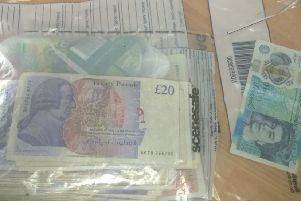 The cash discarded from Allen's car. Photo: Cambridgeshire police