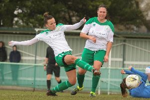 Jess Lewry, pictured scoring earlier in the season, was on target at Pompey / Picture by Sheena Booker
