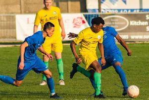 City on the ball at Shoreham - where they won 5-0 / Picture by Daniel Harker