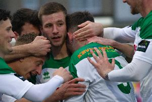Goal celebration time for Bognor in the semi-final / Picture by Tommy McMillan