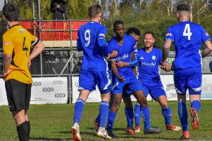 Henry Nkobi celebrates his debut goal for Peterborough Sports against Aylesbury United. Photo: James Richardson.