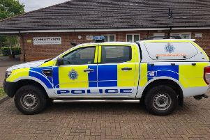 A police vehicle at the scene in Chichester yesterday (May 5)