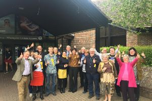 Cheers of 'no overall control' came from the Lib Dems after their success on Friday.