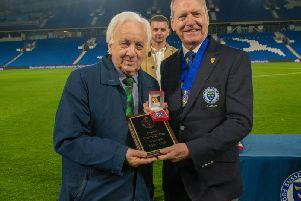 Jack Pearce receives his Sussex Senior Cup winner's medal / Picture by Tommy McMillan