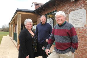 C150363-3 BTH Mid Stedpavilion phot kate'David Burton, chairman of the Stedham Sports Association, right, with Sue Yeates, secretary, and Steve Trussler, project manager, outside the new Stedham pavilion.Picture by Kate Shemilt.C150363-3
