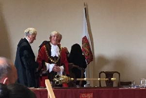 Richard Plowman is given his mayoral chain