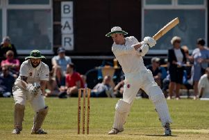 Gwyn Jones strikes out for Thespians / Picture by Bob Hoare