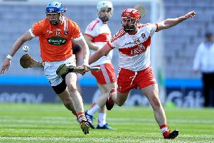 Naoise Waldron (right) in action Armagh's Conor Corvan during the 2017 Nicky Rackard Cup Final in Croke Park.