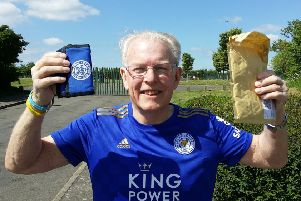Melton pensioner Graham Shaw celebrates having his wallet anonymously sent back to him after he lost it in the town with �105 cash and a Leicester City FC season ticket inside EMN-190521-120700001