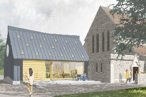 An artists' impression of the chapel and cafe extension