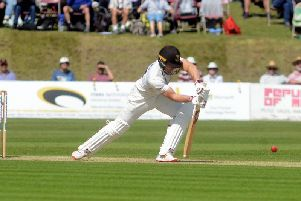 Laurie Evans at the crease in the recent championship draw v Gloucestershire at Arundel / Picture by Kate Shemilt