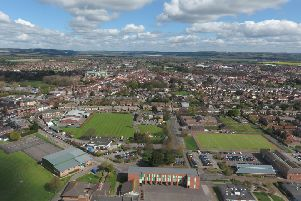 Chichester aerial view. The hockey pitch is in the right hand corner with the redundant school buildings north of it