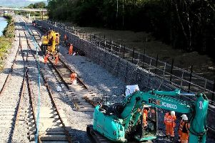 Repair works on the Derry rail line.