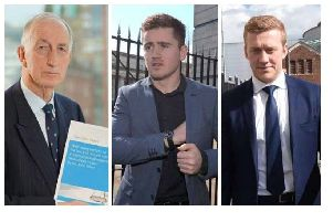 Left to right: Sir John Gillen, Paddy Jackson, and Stuart Olding. Sir Johnlaunched his review into how sex cases are handled in Northern Ireland (known simply as the Gillen Review) following the unanimous acquittal of Mr Jackson and Mr Olding over an allegation of rape last spring