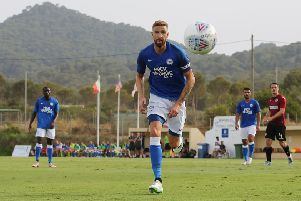 Mark Beevers in action in the Posh friendly at St Mirren.