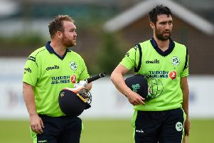 Paul Stirling (left) and Andrew Balbirnie after victory for Ireland over Zimbabwe at Bready. Pic by Sportsfile.