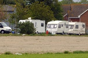 Travellers have reportedly pitched up at Tangmere Airfield. Pictured are travellers who moved onto the land in 2013.