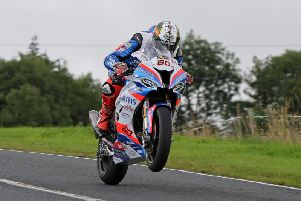 Peter Hickman on the Smiths Racing BMW during Superbike practice at the Ulster Grand Prix. Picture: Pacemaker Press.