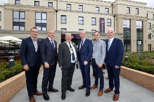 Councillor Stephen Dunne, Ards and North Down Borough Council, Chief Executive of Ards and North Down Borough Council, Mr Stephen Reid, The Mayor of Ards and North Down, Alderman Bill Keery; Des Taggart, Property Director, Conway Group; Kevin McGurgan, Construction Director, Conway Group and Gordon Dunne MLA