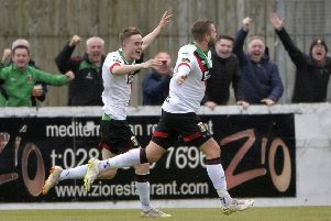 Darren Murray celebrates in front of the Glentoran fans on Friday night after scoring the first goal of the Danske Bank Premiership season. Pic by INPHO.