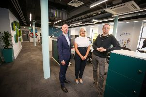 Pictured (L-R): David Wright, Office Agency Director at CBRE; Fiona Martyn, Associate Director at CBRE; and Stephen Donnelly, Senior Software Development Manager at Bazaarvoice