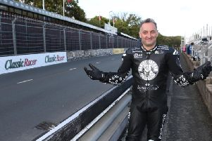 Michael Rutter at the TT Grandstand. Practice for the Classic TT and Manx Grand Prix has been thwarted by wet weather on the Isle of Man this week.
