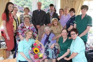 The Mayor of Causeway Coast and Glens Borough Council has attended a very special celebration at Clairville Residential Home outside Rasharkin. Councillor Sean Bateson was on hand as resident Isa Edmondson marked her 100th�birthday on Thursday. Included are friends and family