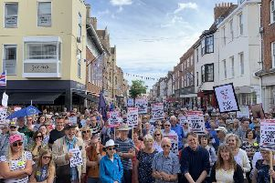 More than 400 people gathered in Chichester city centre to protest against Government plans to prorogue Parliament