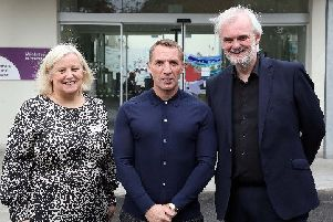 Leicester City manager Brendan Rodgers (centre) with Northern Ireland Hospice CEO Heather Weir and comedian Tim McGarry, who co-hosted a Ambassador breakfast at Northern Ireland Hospice on September 9. Picture by Darren KIdd / Press Eye.
