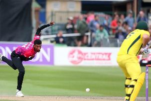 Abi Sakande in action for Sussex against Australia last summer / Picture from Sussex Cricket
