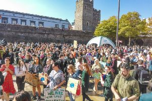 A section of the huge attendance at the Climate Strike in Guildhall Square.