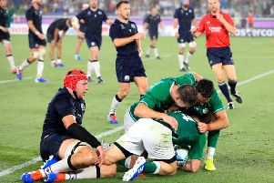 Ireland's Andrew Conway scores a try against Scotland.