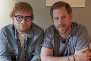 The Duke of Sussex with singer Ed Sheeran, as the pair teamed up for World Mental Health Day, urging people 'to look out for anybody that might be suffering in silence'. Pic: Sussex Royal/PA Wire