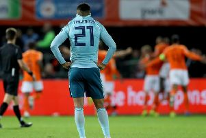 Northern Ireland scorer Josh Magennis looking on during Holland's celebrations in Rotterdam earlier this month
