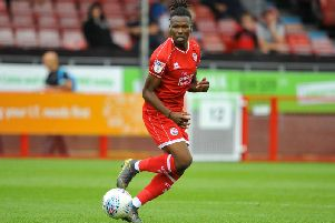 David Sesay was unlucky not to equalise for Crawley at Bradford