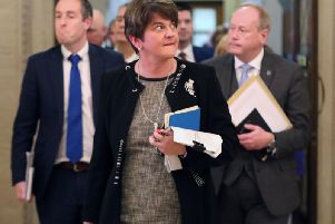 DUP leader, Arlene Foster, in Stormont on Monday. (Photo: P.A. Wire)