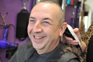 Bognor man Richard Johnson has his head shaved for charity after overcoming cancer. Photo: Steve Robards SR23101903