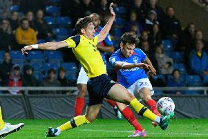 Josh Flint in action for Pompey at Oxford / Picture by Graham Hunt