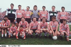 HISTORY MAKERS . . . . Derry Citys treble winners pictured ahead of the 1989 FAI Cup Final.