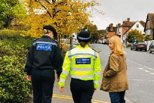 Deputy Chief Constable Jo Shiner on patrol in Hartfield, East Sussex, with Sussex Police and Crime Commissioner Katy Bourne and Rural Crime PCSO Olivia Clinton