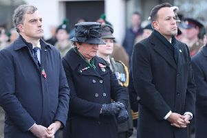 Northern Ireland Secretary Julien Smith, DUP leader Arlene Foster and Taoiseach Leo Varadkar at a Remembrance Sunday service at the Cenotaph in Enniskillen