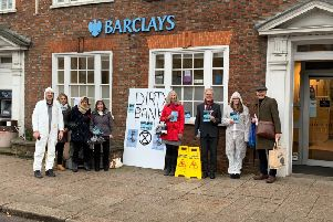 Activists outside Barclays Bank in Berkhamsted