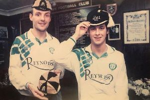 Guy Rutherford, left, and Darin Killpartrick preparing for Bognor's FA Cup visit to Peterborough in 1995