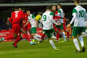 Bognor attack against Merstham in their winning league run - now they're hoping another two new recruits can help the form continue / Picture by Tommy McMillan